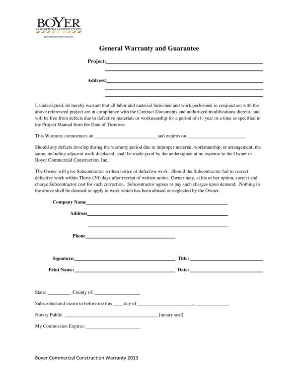 commercial construction general warranty and guarantee