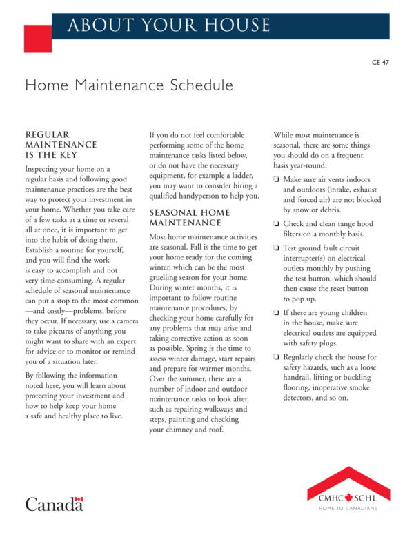 complete home maintenance schedule sample