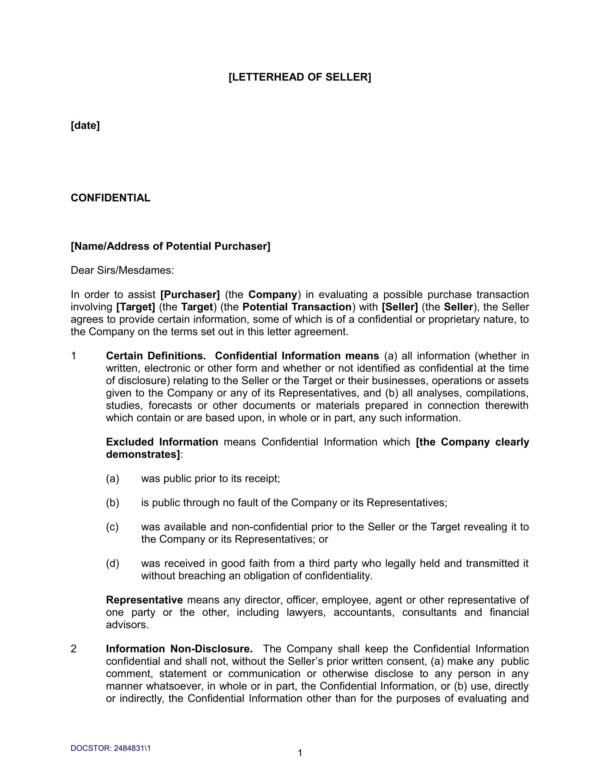 confidentiality agreement template for share purchase transaction