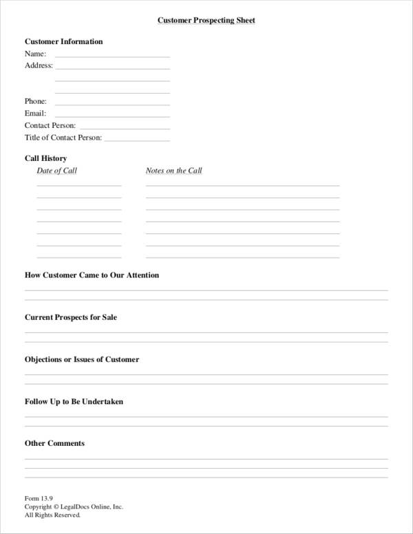 customer sales prospecting sheet