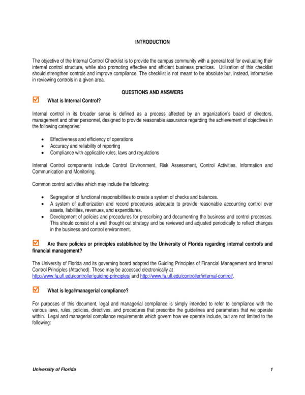 detailed internal controls checklist sample