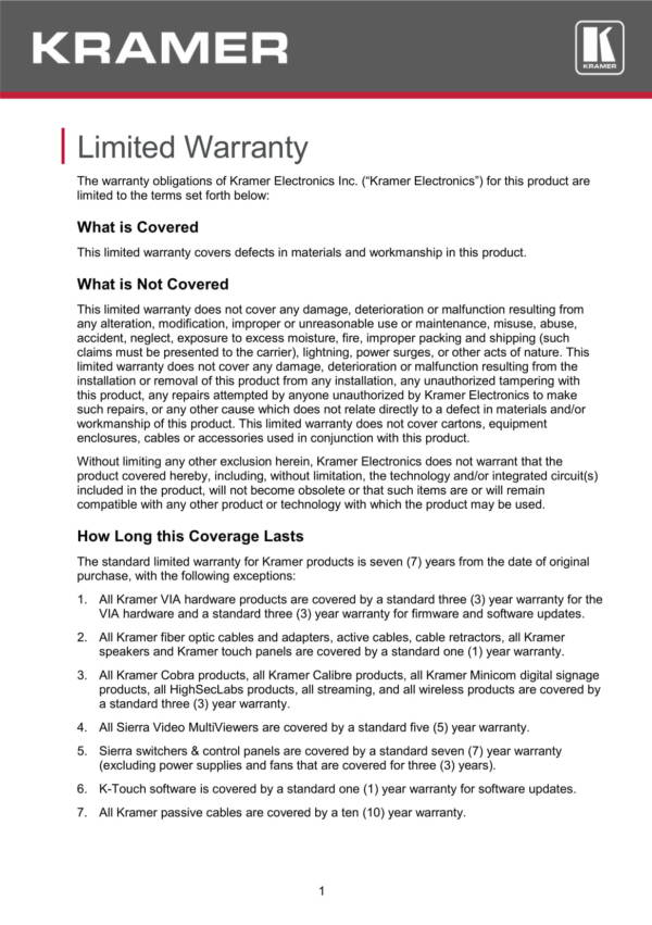 electronics limited waraanty statement sample