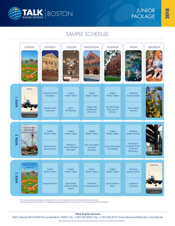 english school group activity schedule sample
