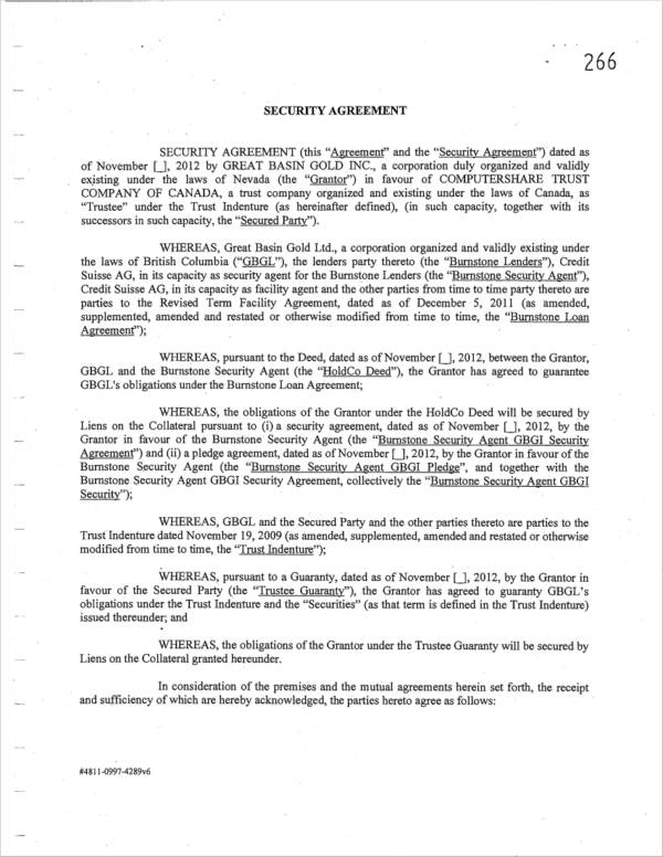 example security agreement to download