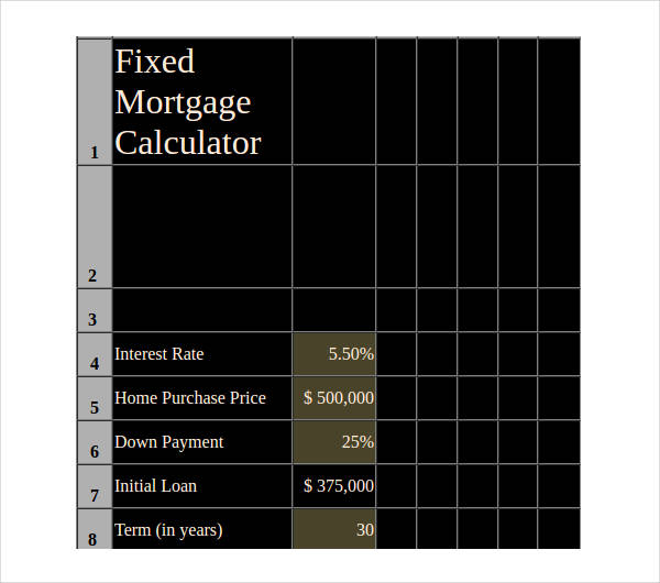 fixed mortgage loan calculator