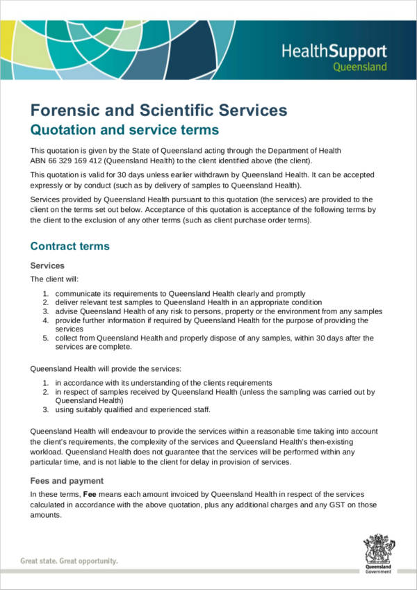 forensic and scientific services quotation