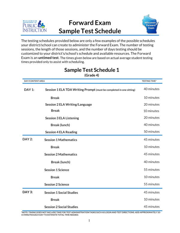 forward exam sample test schedules