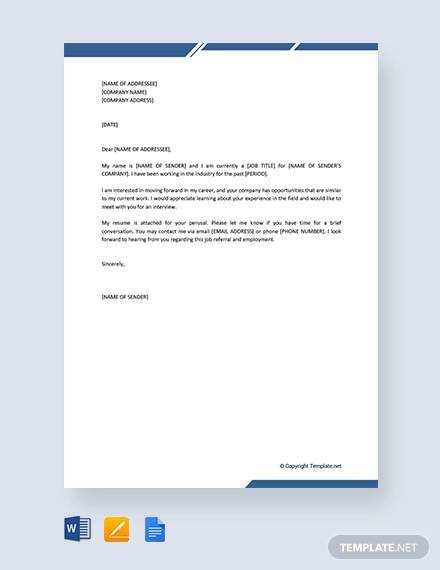 free self introduction letter for job