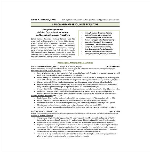 hr executive one page resume