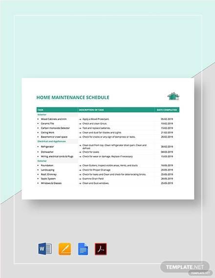 home maintenance schedule template