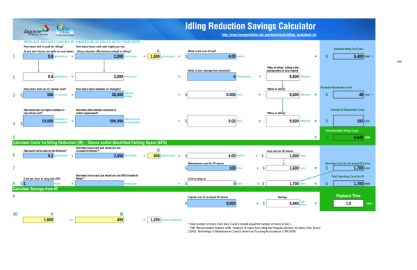 idling reduction savings calculator