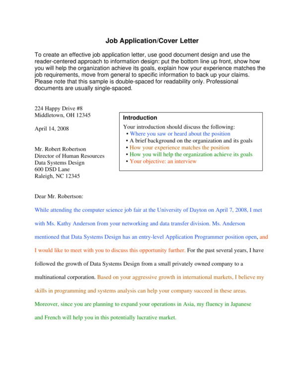 job application writing samples with instructions