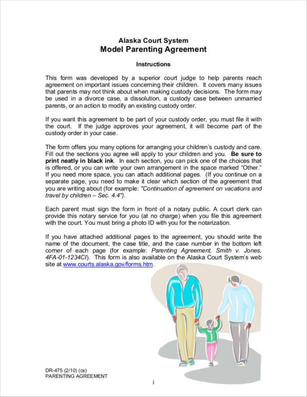 model parenting agreement