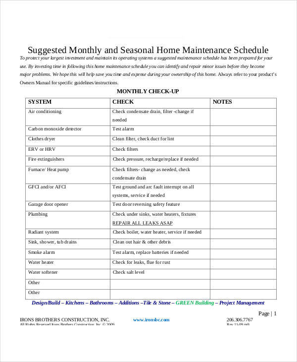 monthly home maintenance schedule sample