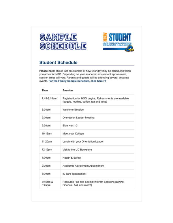 new student orientation sample schedule