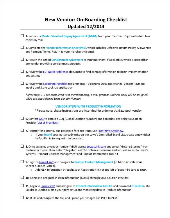 new vendor onboarding checklist in pdf