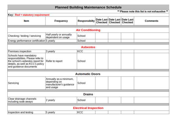 office building planned maintenance schedule