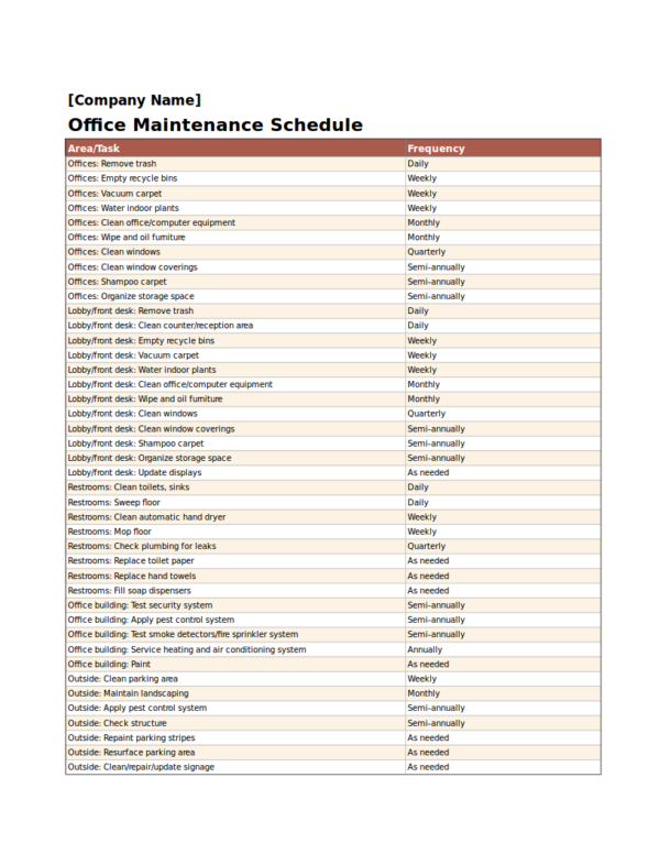 office maintenance schedule