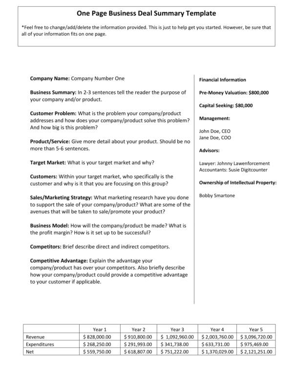 one page business deal summary template