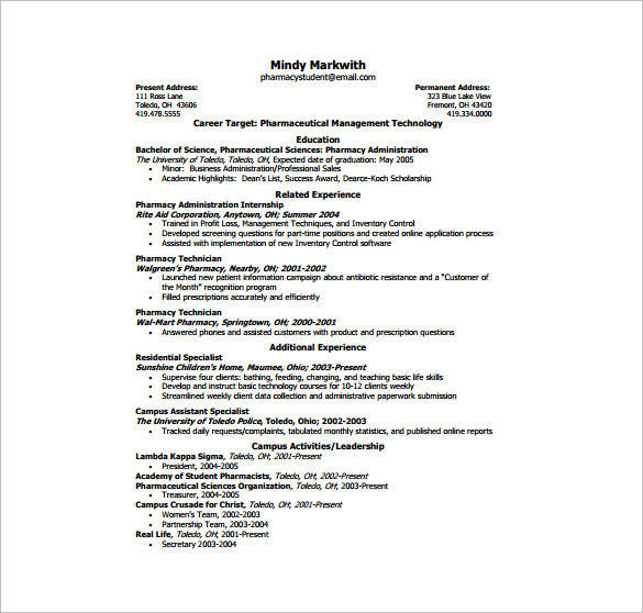 one page resume for pharmacist