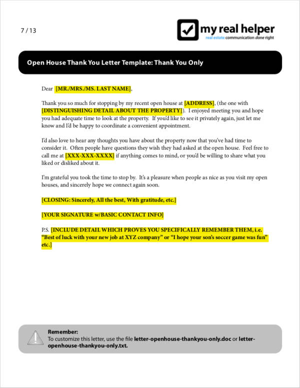 open house real estate thank you letter