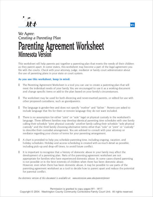 parenting agreement worksheet