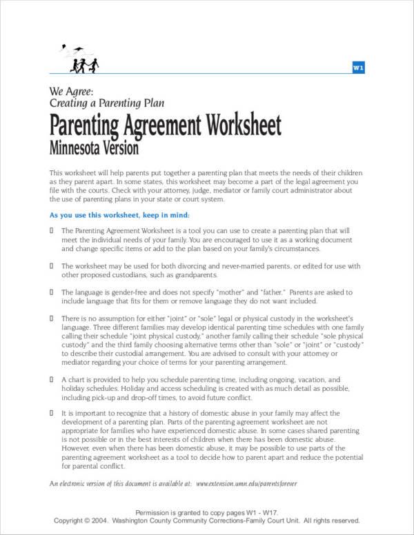 7 parenting agreement examples samples pdf word parenting agreement worksheet platinumwayz