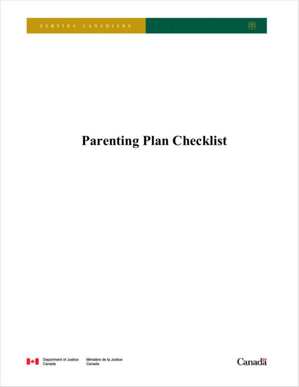 parenting plan agreement checklist