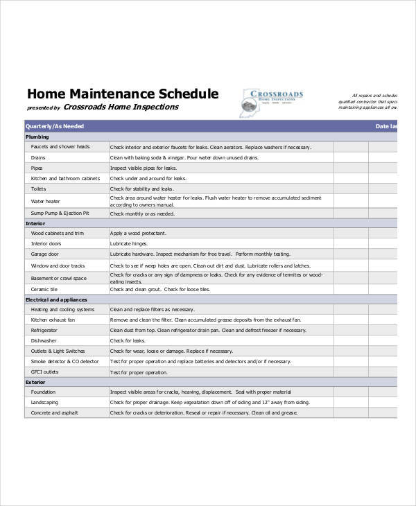 printable home maintenance schedule sample