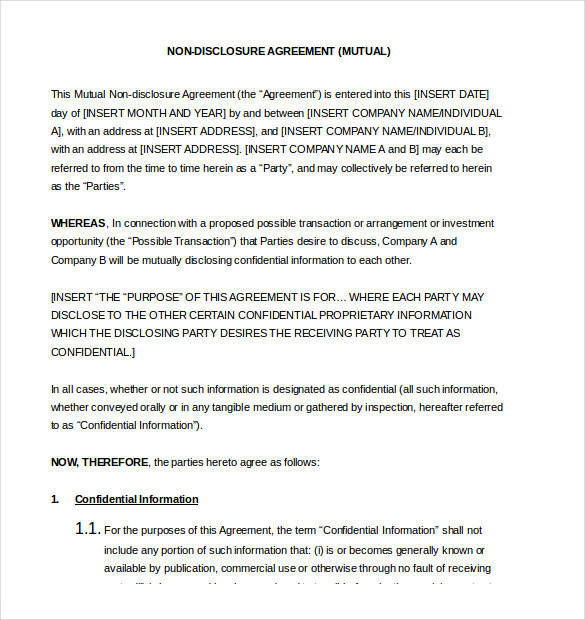 Nondisclosure Agreement Samples And Examples PDF Word Sample - Proprietary information agreement template