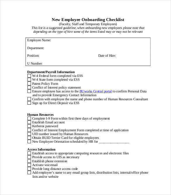 printable onboarding checklist for new employees