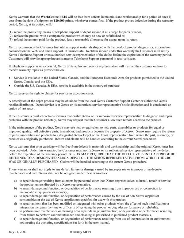 product warranty statement sample