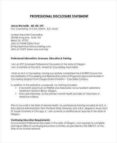 professional disclosure example