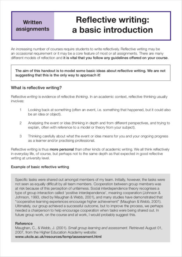 reflective writing format