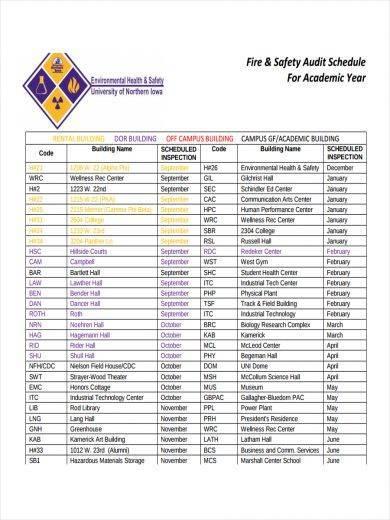 safety audit schedule sample