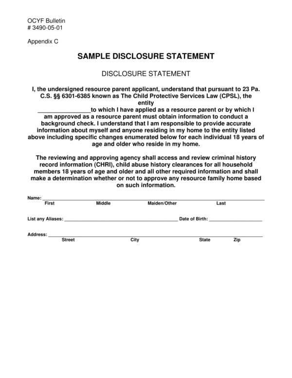 sample disclosure statement in pdf