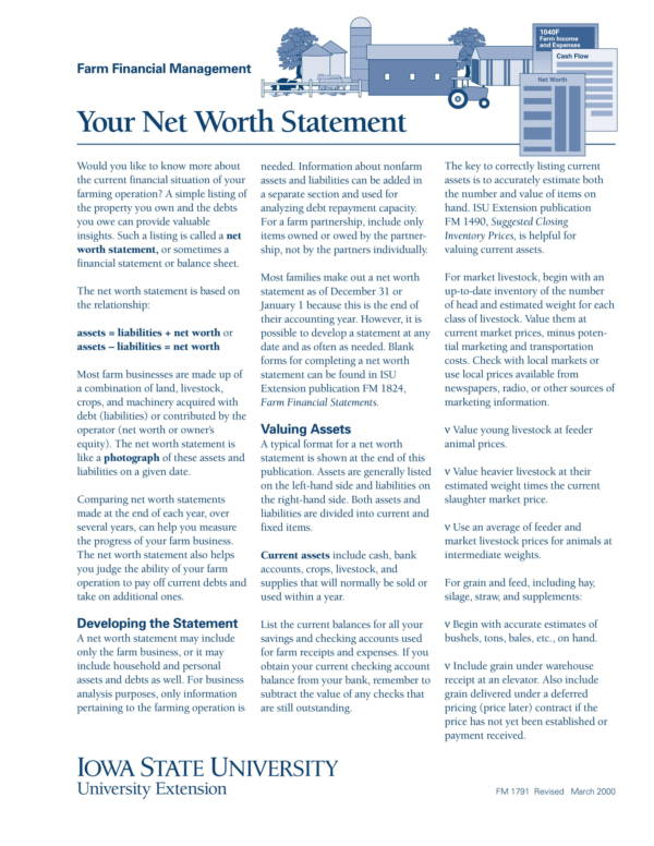 sample net worth statement for farm
