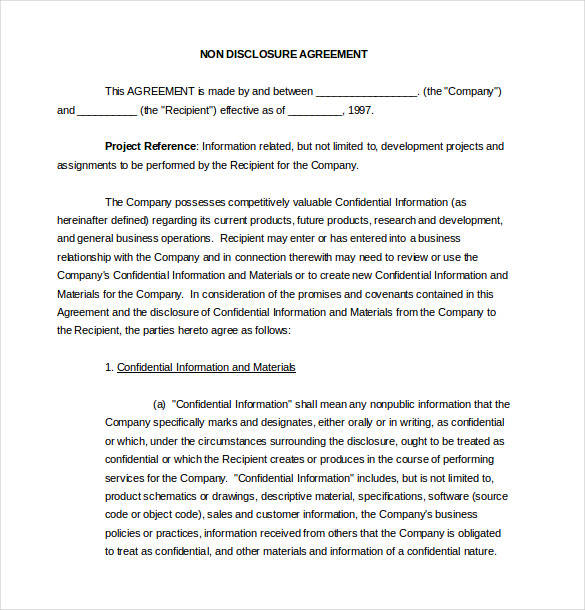 sample non disclosure agreement template