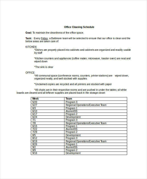 sample office cleaning schedule template in doc