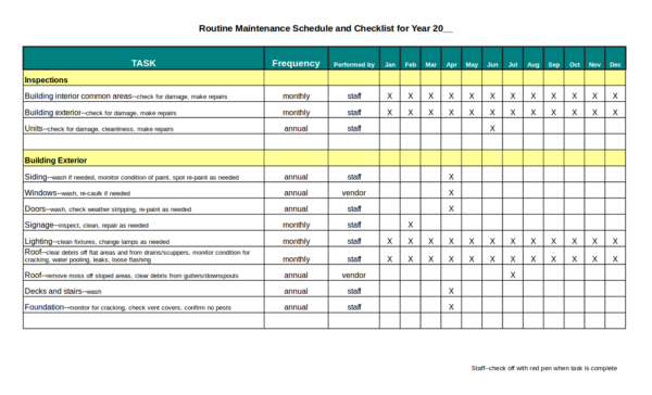 sample routine office maintenance schedule checklist