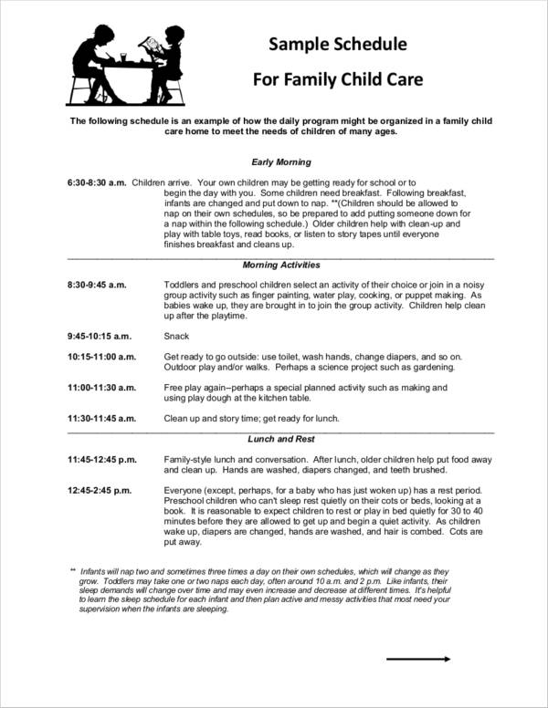 sample schedule for family child care