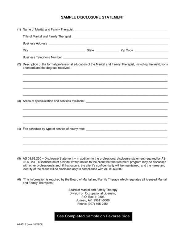 sample template for disclosure statement