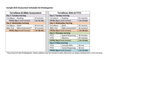 sample test schedules kindergarten