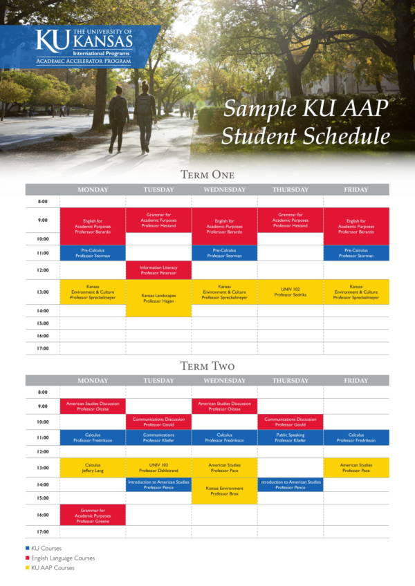 sample university student schedule