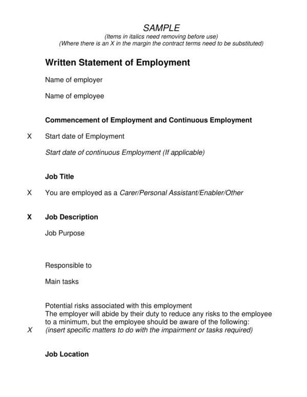 sample written statement of employment