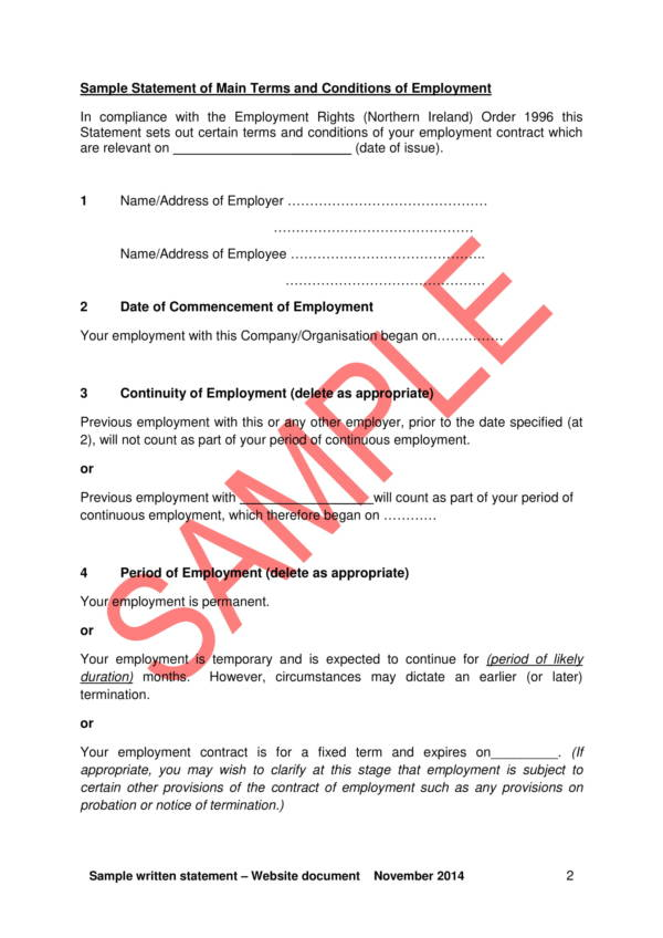 10 written statement samples templates pdf word for Statement of terms and conditions of employment template