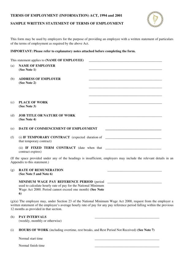 sample written statement of terms of employment