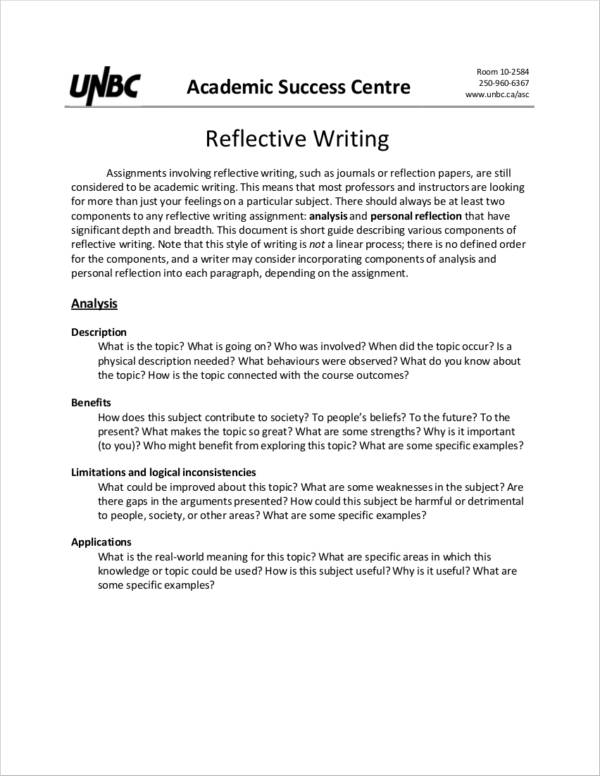 Sample reflective essays