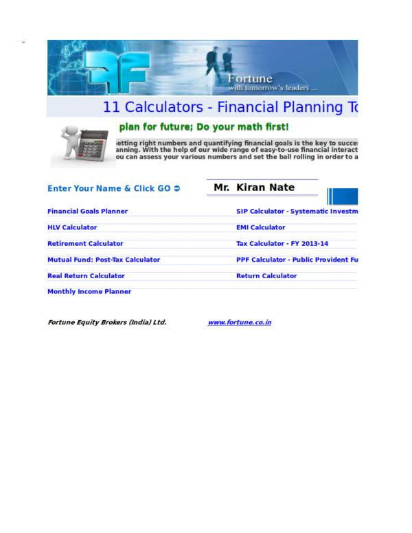 saving calculator template with samples