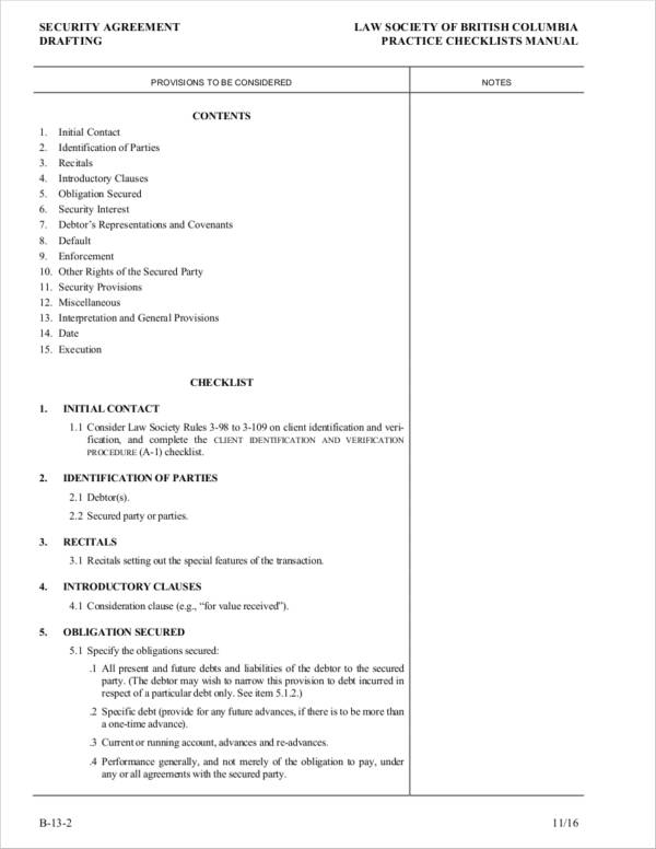 6 Security Agreement Samples And Templates Pdf